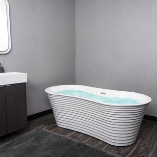 """AKDY 67"""" Acrylic Wavy Oval Bathtub Ripple Freestanding SPA Overflow Modern Bathroom"""