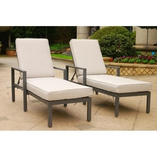 Havenside Home Corner Brook Outdoor Adjustable Chaise Chair with Cushions (Set of 2)