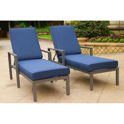 Palazzo Outdoor Patio Synthetic Adjustable Aluminum Pool Chaise Chair with Cushions (Set of 2)