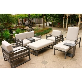 Havenside Home Corner Brook 7-piece Aluminum Deep Seating Set