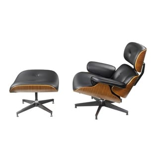 Tufted Leatherette Wooden Chair and Ottoman with Aluminum Base, Black and Brown, Pack of Two