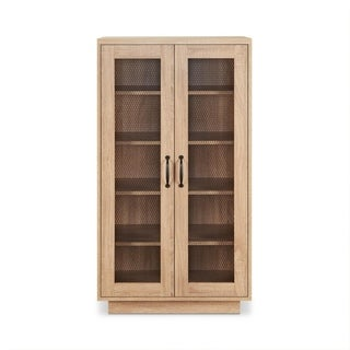 Wooden Cabinet with Two Wire Mesh Doors and Five Open Compartments, Brown