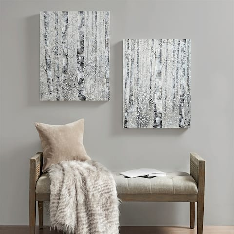Madison Park Winter Forest Black/ White Printed Canvas with 30-percent Embellishment 2 Piece Set