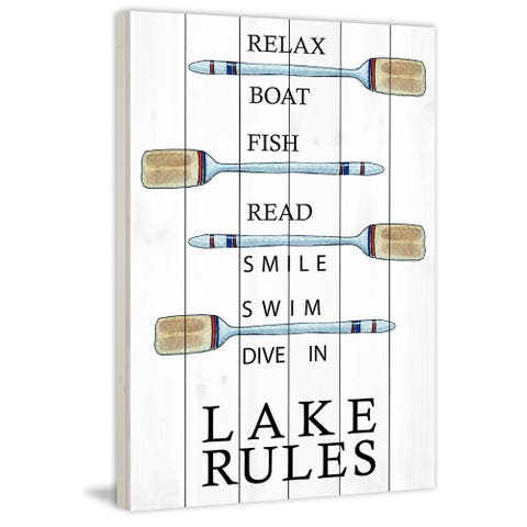 Marmont Hill - Handmade Lake Rules Painting Print on White Wood