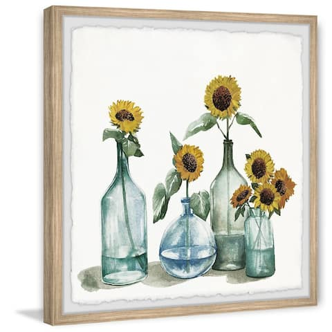 Carson Carrington Handmade Sunflowers in Blue Vase Framed Print