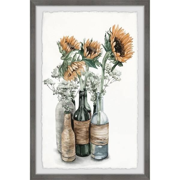 Marmont Hill Handmade Sunflower Centerpiece Framed Print Overstock 28072816