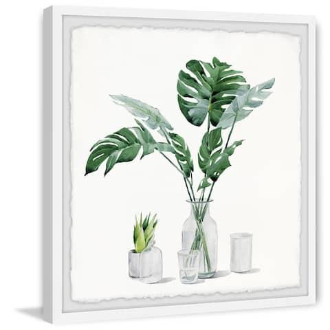 Porch & Den Monstera Leaf in Glass' Framed Painting Print