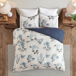 Madison Park Monah Blue Printed Seersucker Duvet Cover Set