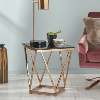 Archibald Modern Glam Tempered Glass and Stainless Steel Side Table by Christopher Knight Home