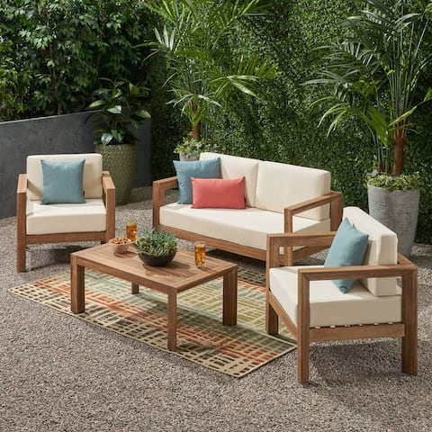 Genser Outdoor 4-piece Acacia Chat Set by Christopher Knight Home