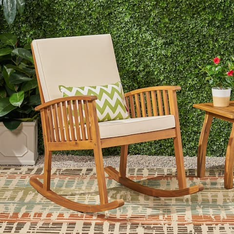 Casa Outdoor Acacia Wood Rocking Chair by Christopher Knight Home