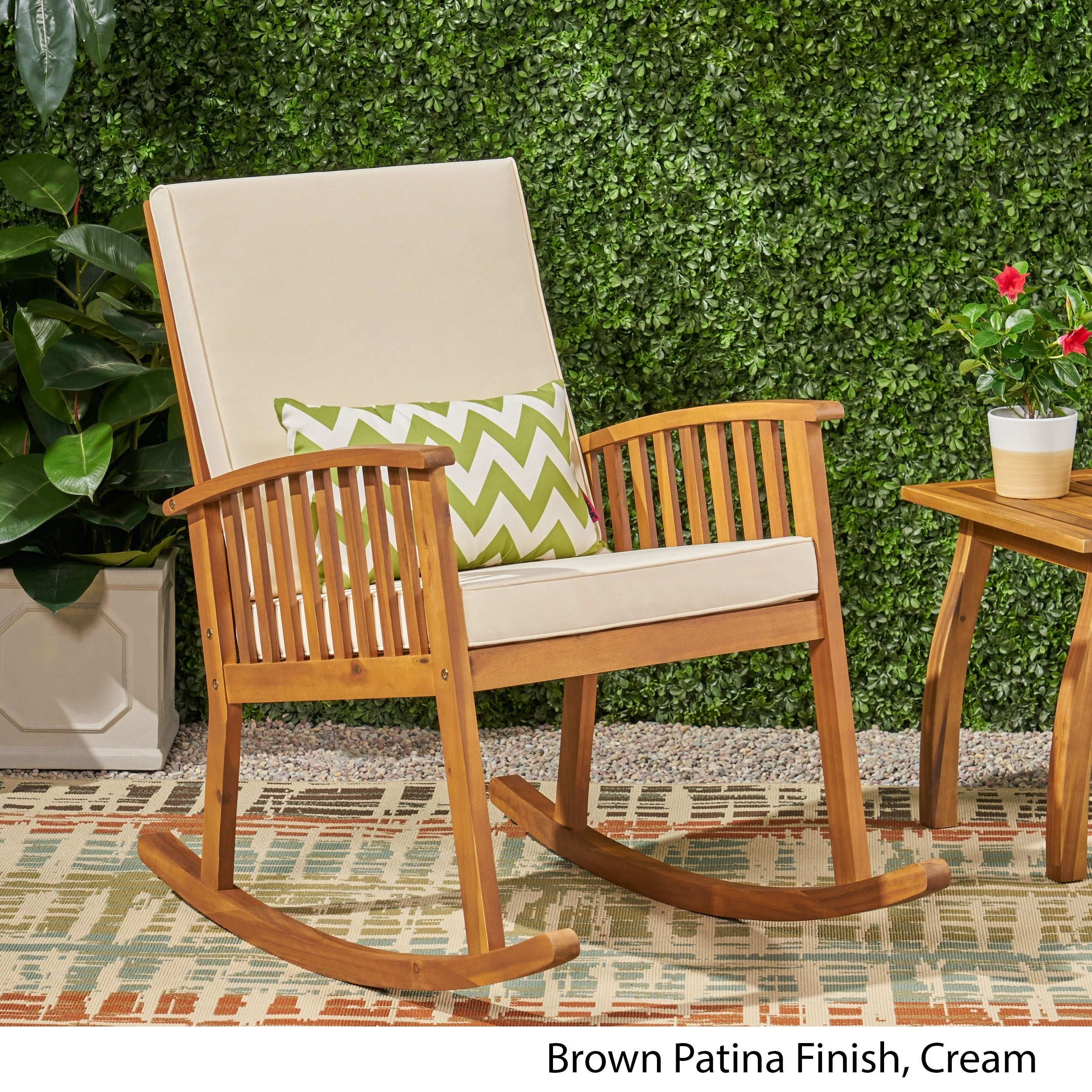 Fine Casa Outdoor Acacia Wood Rocking Chair By Christopher Knight Home Lamtechconsult Wood Chair Design Ideas Lamtechconsultcom