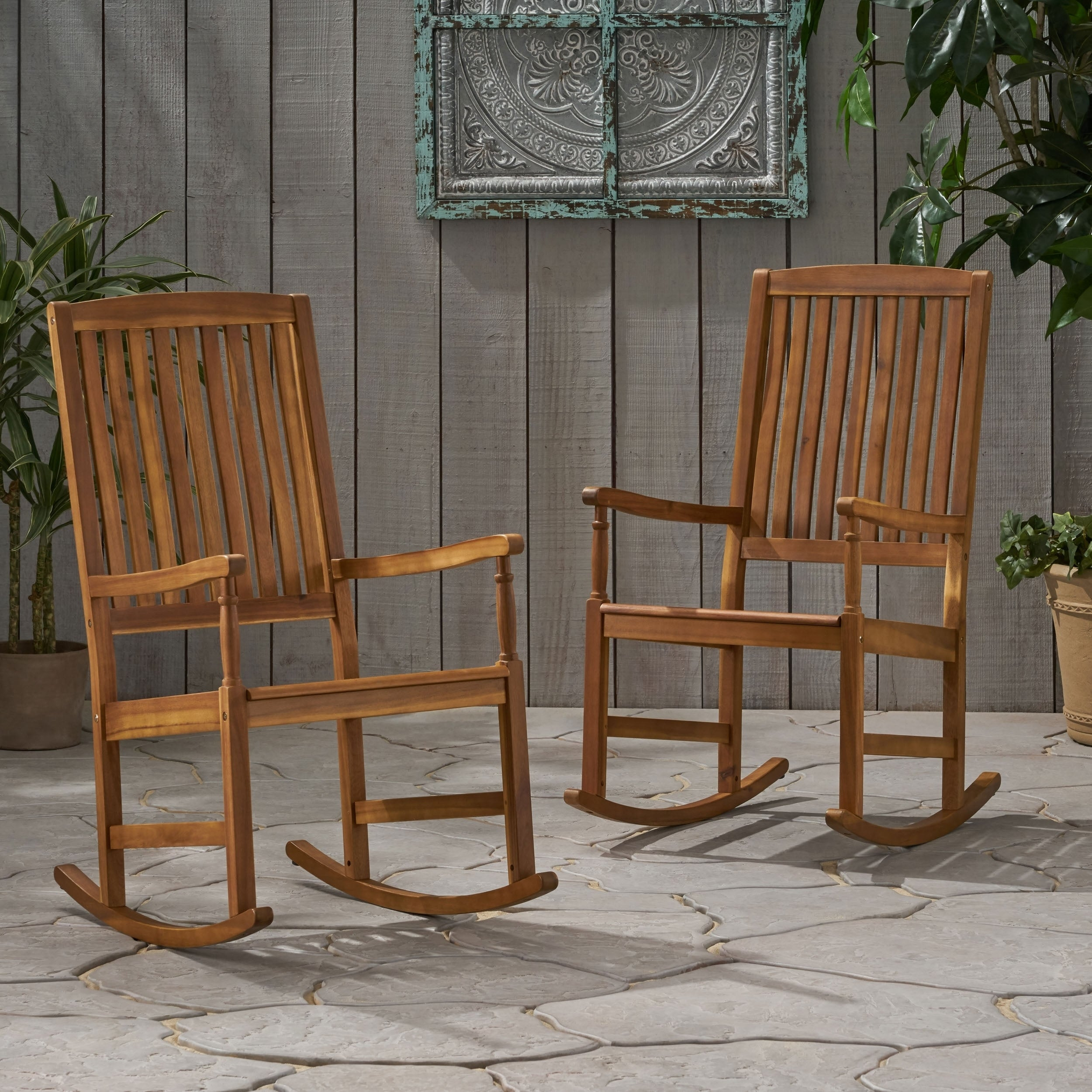Arcadia Outdoor Acacia Wood Rocking Chairs Set Of 2 By Christopher Knight Home Overstock 28072870