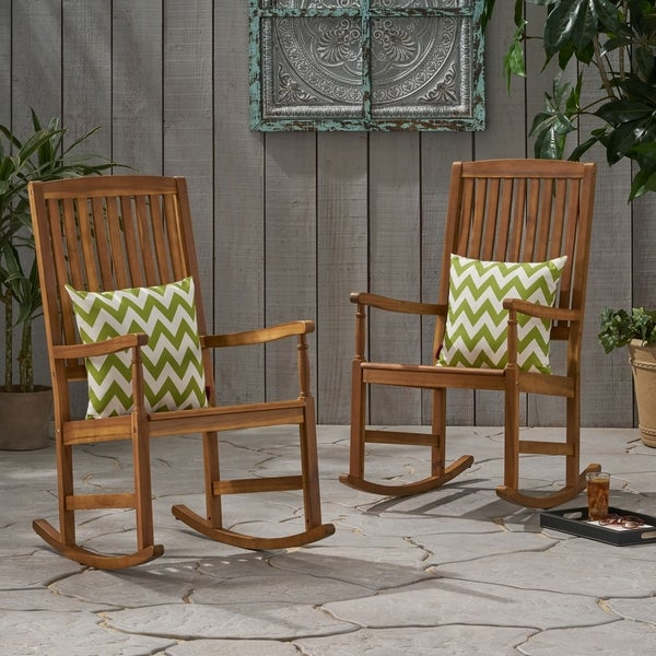 Arcadia Outdoor Acacia Wood Rocking Chairs (Set of 2) by Christopher Knight Home. Opens flyout.