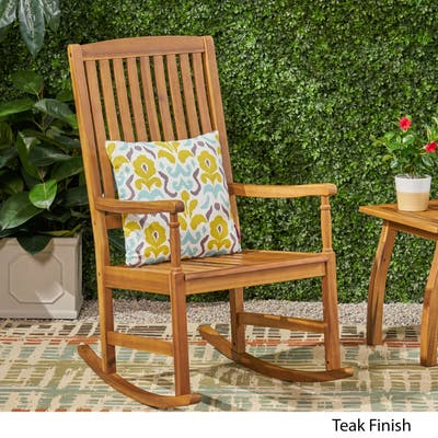 Arcadia Outdoor Acacia Wood Rocking Chair by Christopher Knight Home