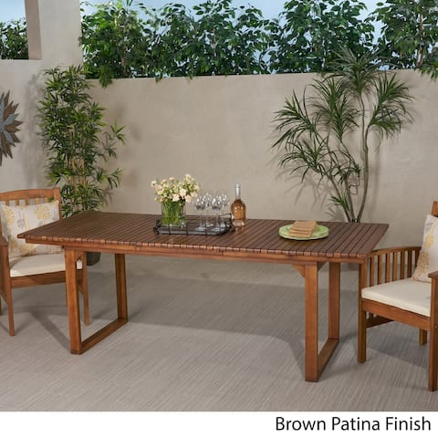 Sorrento Outdoor Expandable Acacia Wood Dining Table by Christopher Knight Home