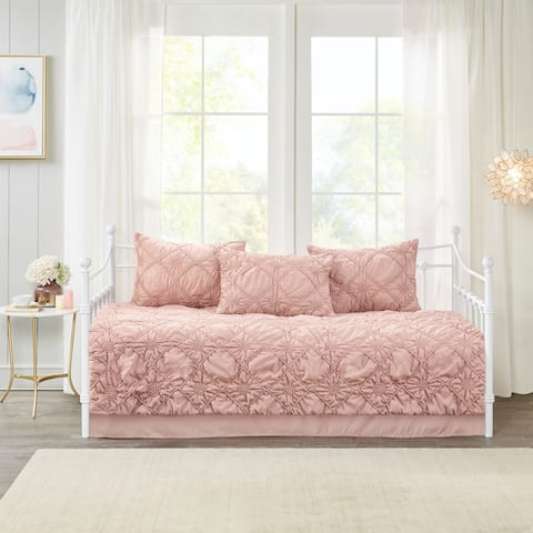 Madison Park Sisley Dusty Rose 5 Piece Ruched Rosette Reversible Daybed Cover Set