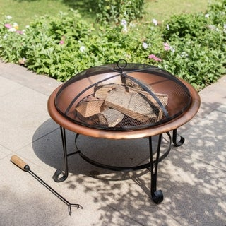 "Madeleine Home - Suffolk Copper Wood Burning Fire Pit - 29"" Length x 22"" Width x 29"" Height"