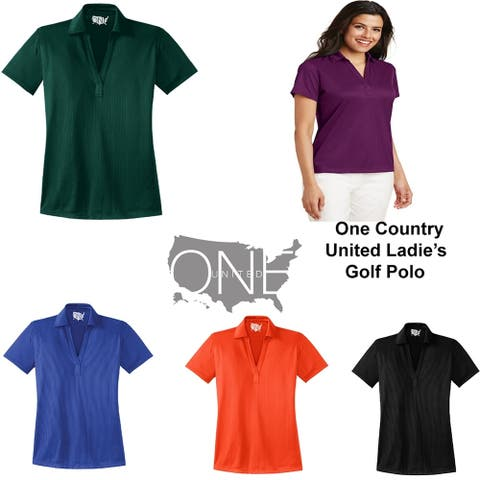 One Country United Ladies Moisture Wicking Solid Golf Polos in XS-4XL