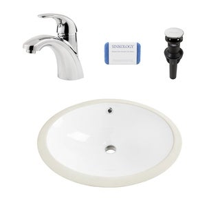 Louis Oval Undermount Vitreous China Bathroom Sink in White and Parisa Polished Chrome Faucet Kit