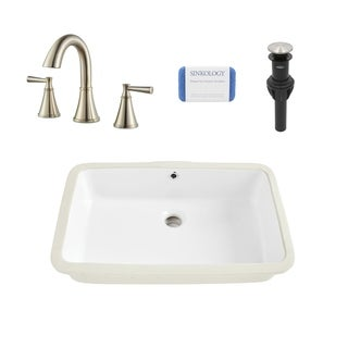 Carder Rectangle Undermount Vitreous China Bathroom Sink in White and Cantara Brushed Nickel Faucet Kit