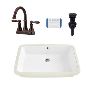 Carder Rectangle Undermount Vitreous China Bathroom Sink in White and Courant Rustic Bronze Faucet Kit