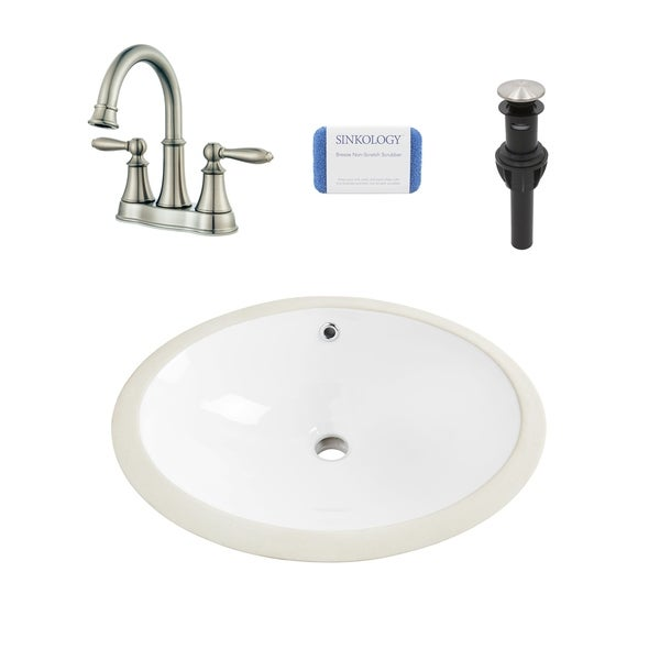 Louis Oval Undermount Vitreous China Bathroom Sink in White and Courant Brushed Nickel Faucet Kit