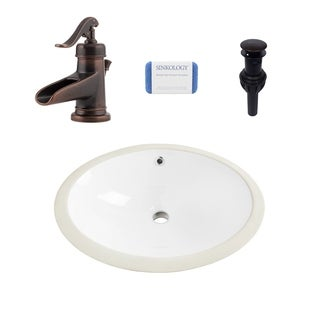 Louis Oval Undermount Vitreous China Bathroom Sink in White and Ashfield Rustic Bronze Faucet Kit