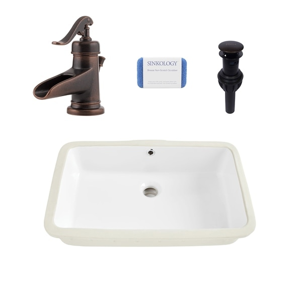Carder Rectangle Undermount Vitreous China Bathroom Sink in White and Ashfield Faucet Kit