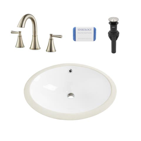 Louis Oval Undermount Vitreous China Bathroom Sink in White and Cantara Brushed Nickel Faucet Kit