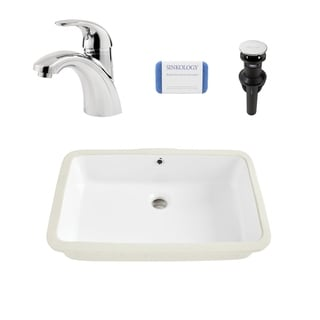 Carder Rectangle Undermount Vitreous China Bathroom Sink in White and Parisa Polished Chrome Faucet Kit