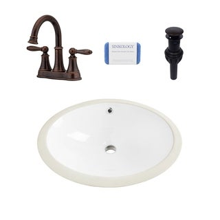 Louis Oval Undermount Vitreous China Bathroom Sink in White and Courant Rustic Bronze Faucet Kit