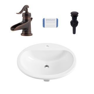 Rene Oval Drop in Vitreous China Bathroom Sink in White and Ashfield Rustic Bronze Faucet Kit