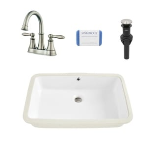 Carder Rectangle Undermount Vitreous China Bathroom Sink in White and Courant Brushed Nickel Faucet Kit