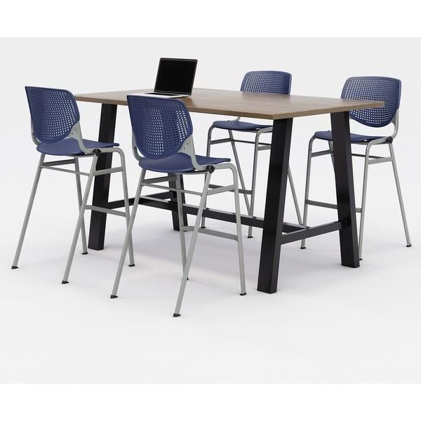 KFI Midtown Bistro Table Set, Studio Teak Top, 4 KOOL Stools