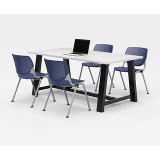 KFI Midtown Office Table Set, Designer White Top, 4 KOOL Chairs