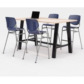 KFI Midtown Bistro Table Set, Maple Top, 4 KOOL Stools