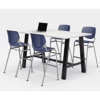 KFI Midtown Bistro Table Set, Designer White Top, 4 KOOL Stools