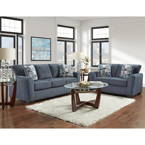 Copper Grove Foy Navy Sofa and Loveseat