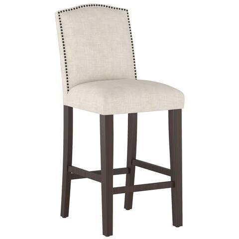 Skyline Furniture Linen Upholstered Nail Button Camel Back Bar Stool