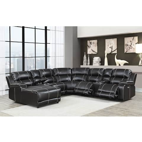 William Brown Transitional Faux Leather Curved Living Room Reclining Sectional Sofa