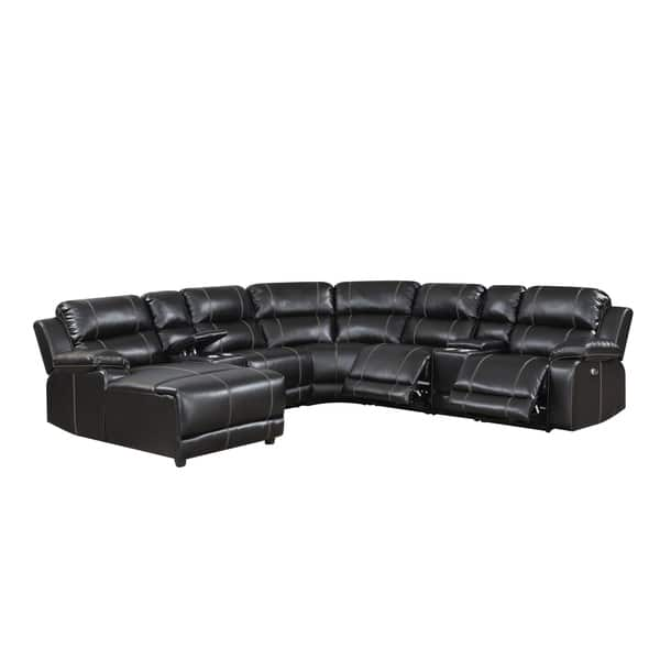 Shop William Brown Transitional Faux Leather Curved Living ...