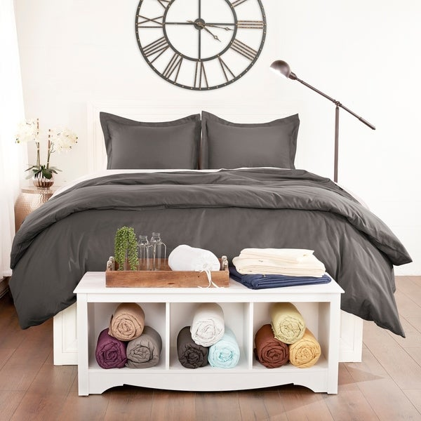 Luxury 3 Piece Solid Duvet Cover Set by Sharon Osbourne Home. Opens flyout.