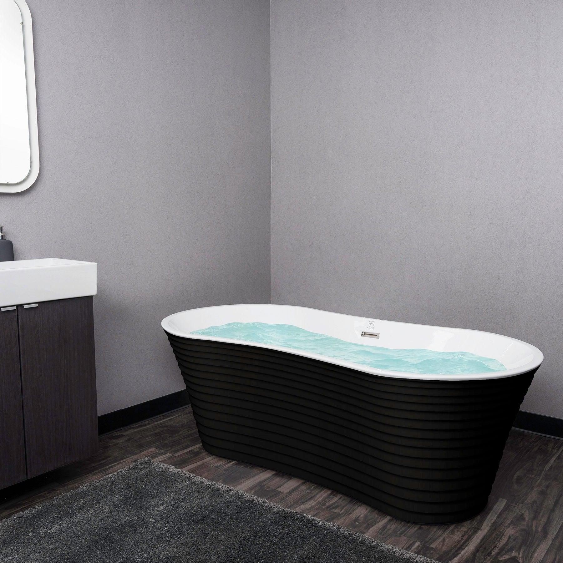 AKDY 67 White Black Acrylic Freestanding Soaking SPA Bathroom Oval Bathtub Overflow