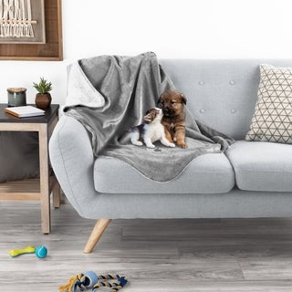 Waterproof Pet Blanket- 40inx30in Plush Throw Protects Couch, Chairs, Car, Bed- Machine Washable by Petmaker - 40x30 (Gray)