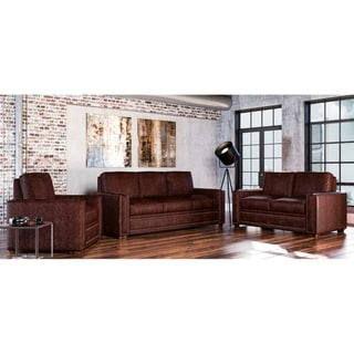 Made to Order Evelyn 100% Top Grain Leather Sofa, Loveseat and Chair Set