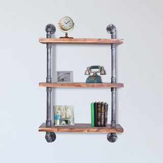 Carbon Loft Frigga Industrial Silver Brushed Grey Pipe with Pine Wood Floating Wall Shelf