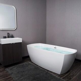 "AKDY 69"" Acrylic White Oval Bathtub Freestanding SPA Overflow Curved Modern Bathroom"