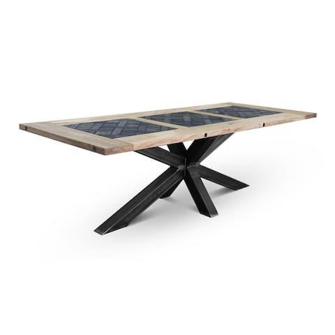 ADLER Crue Dining Table - Natural Oak/Dark Oak/Black