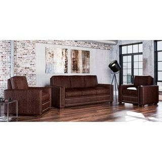 Made to Order Evelyn 100% Top Grain Leather Sofa and Two Chair Set